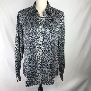 Rafaella Silk Button Down Cheetah Print Shirt - 10